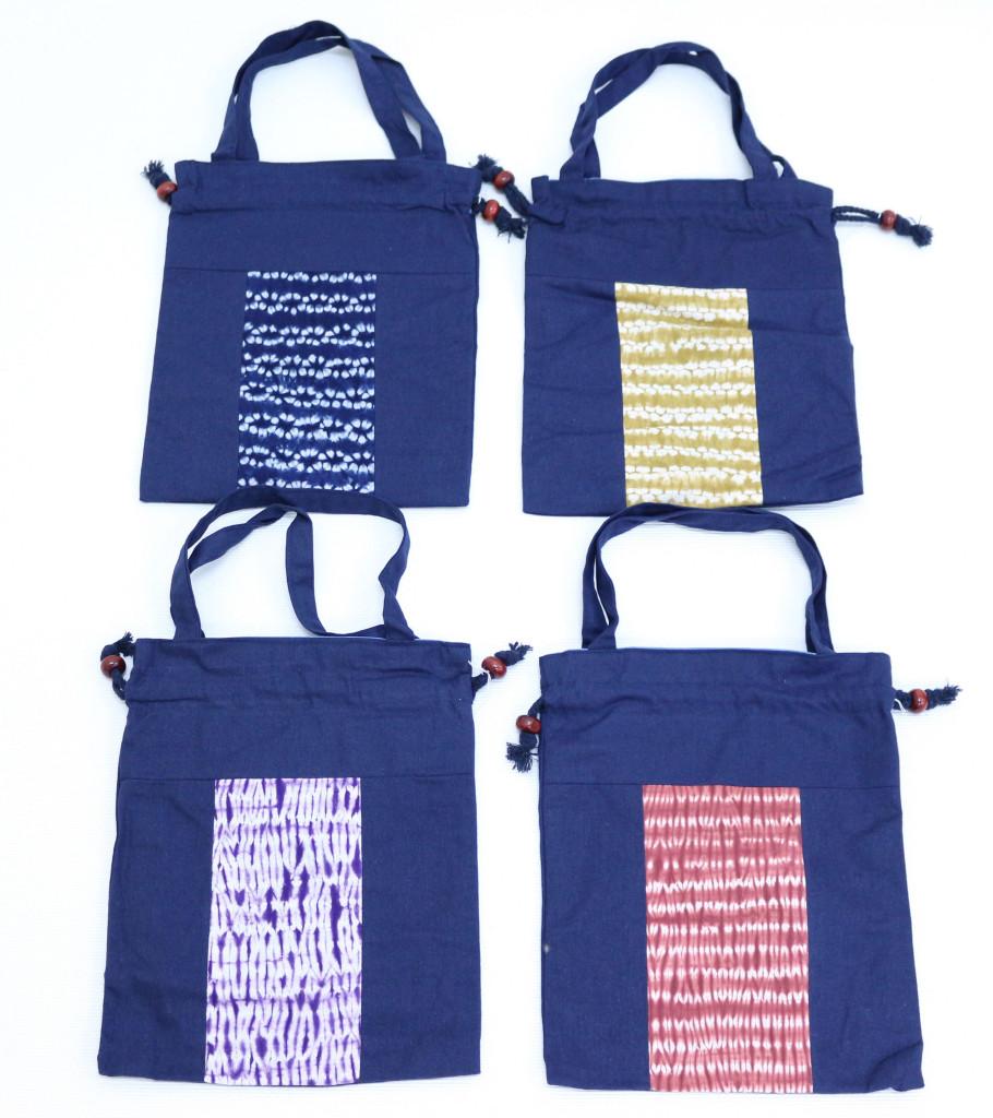 藍染ショルダー付巾着(絞り柄) 縦29.5 x 横23.5(756円)(税込)